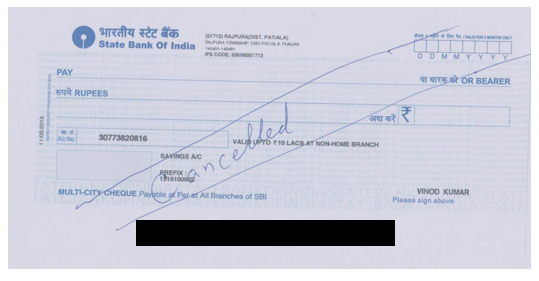 Sample Cancelled Cheques SBI